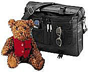 plush animal teddy bear with leather bag, sunglasses and pens